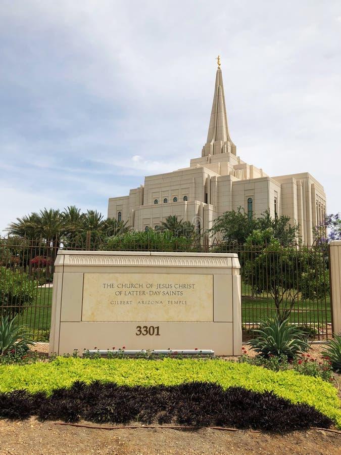 Chiesa del tempio mormonico in Gilbert Arizona immagine stock libera da diritti