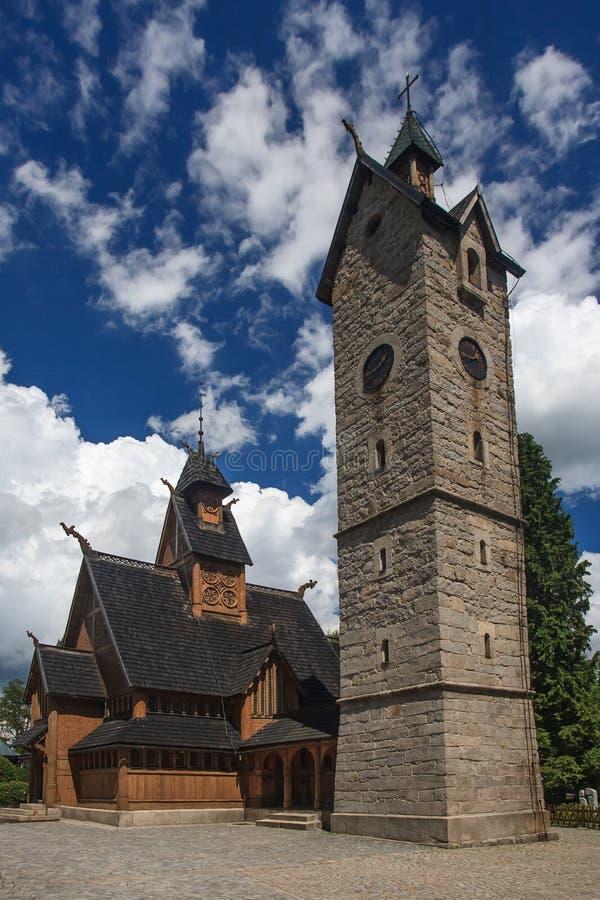 Chiesa del Wang in Karpacz fotografie stock libere da diritti