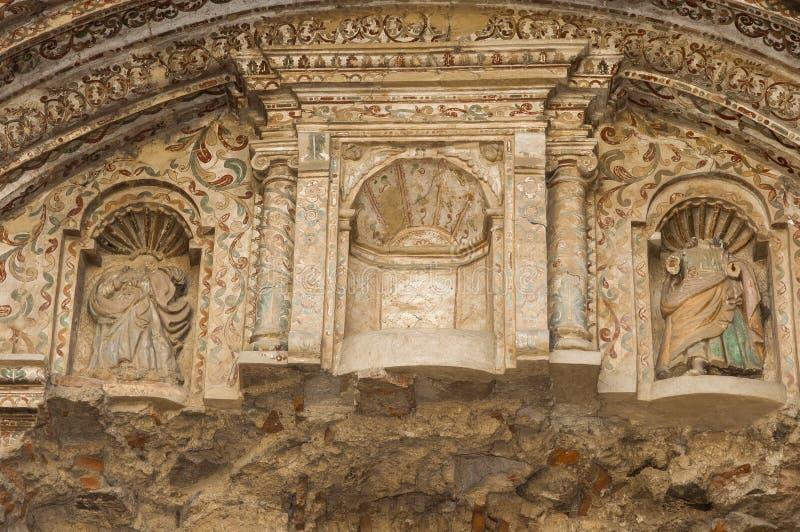 Chiesa dell'entrata dell'arco del dettaglio e convento della società di Gesù nel Guatemala, Antigua Guatemala, 1561 fotografie stock