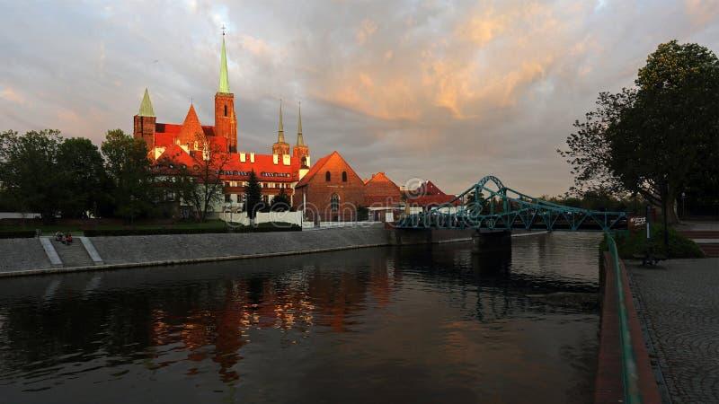 Chiesa dell'incrocio santo sull'isola di Tumski, Wroclaw, Polonia fotografie stock