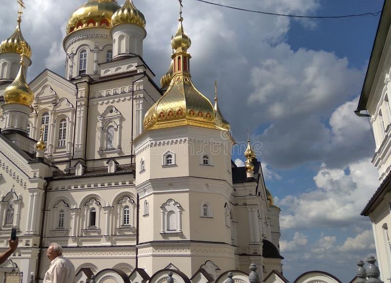 Chiesa dell'Ucraina in Pochaevska Lavra immagine stock