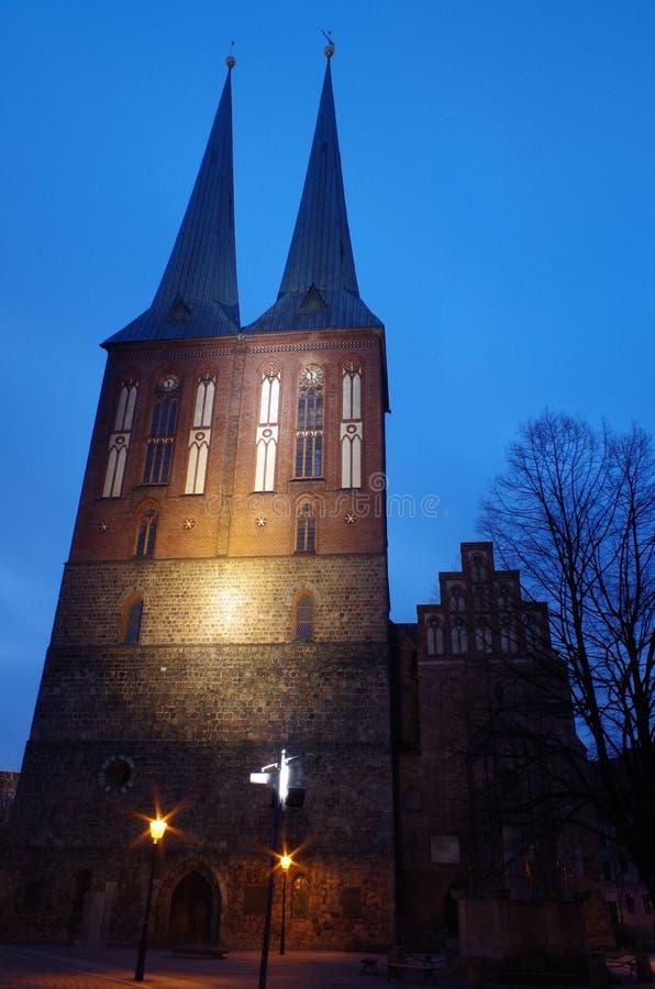 Chiesa della città di nikolai e di San Nicola a Berlino fotografia stock libera da diritti