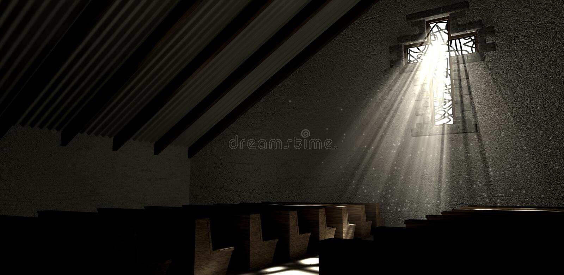 Chiesa della croce della finestra di vetro macchiato fotografia stock