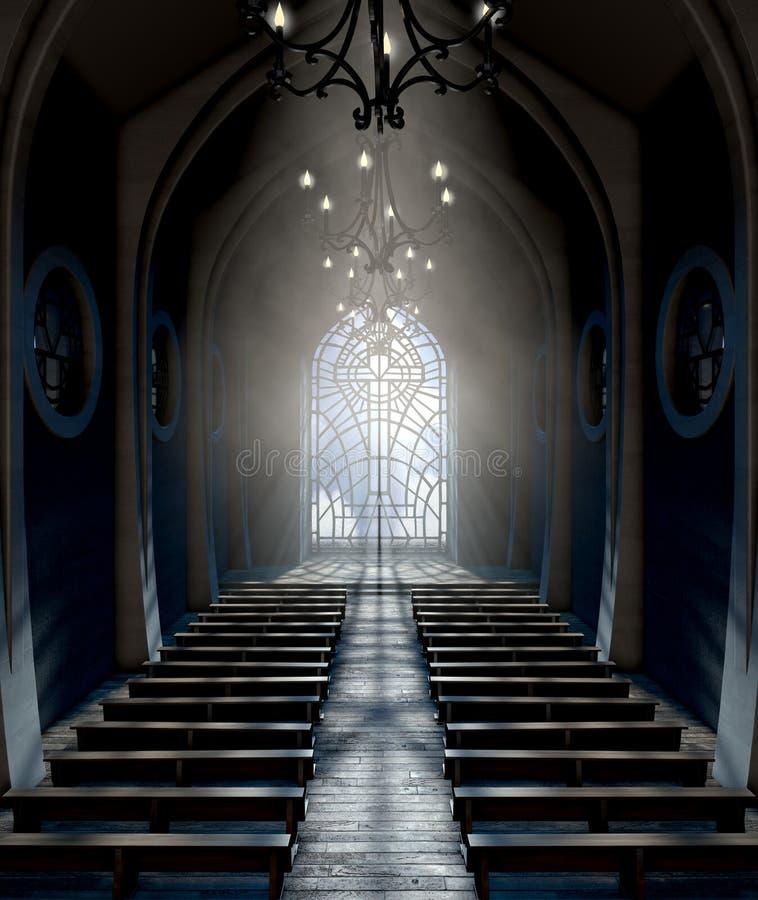 Chiesa della finestra di vetro macchiato fotografie stock libere da diritti