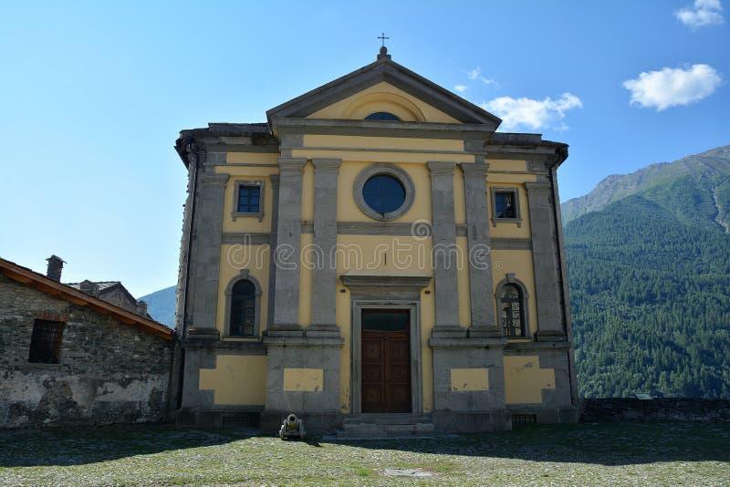 Chiesa della fortificazione di Fenestrelle, Italia fotografie stock
