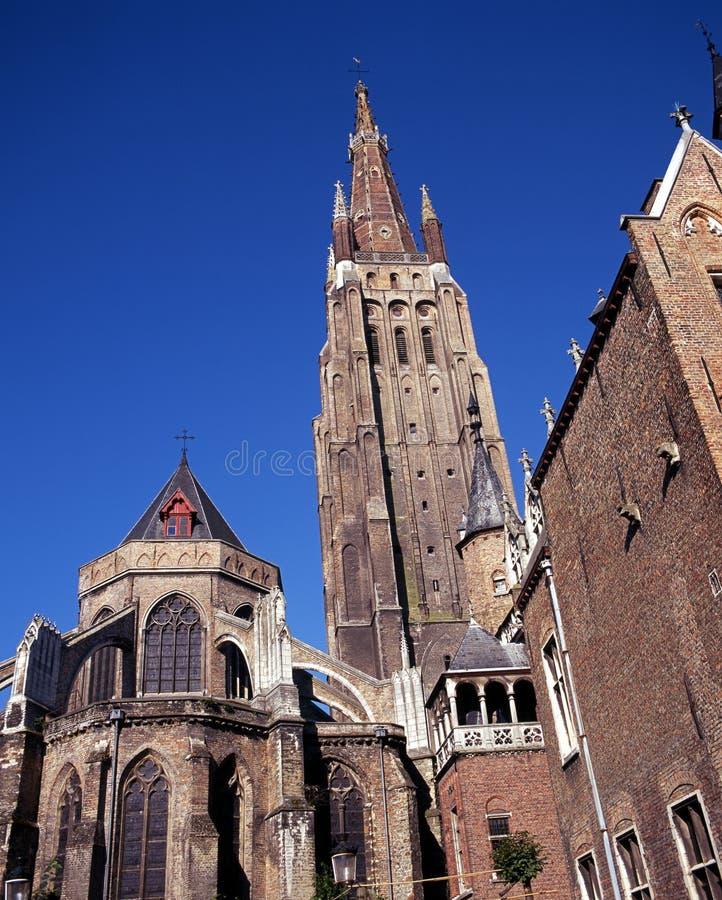 Chiesa della nostra signora, Bruges, Belgio. fotografia stock libera da diritti