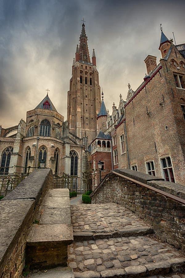 Chiesa della nostra signora a Bruges, Belgio fotografie stock libere da diritti