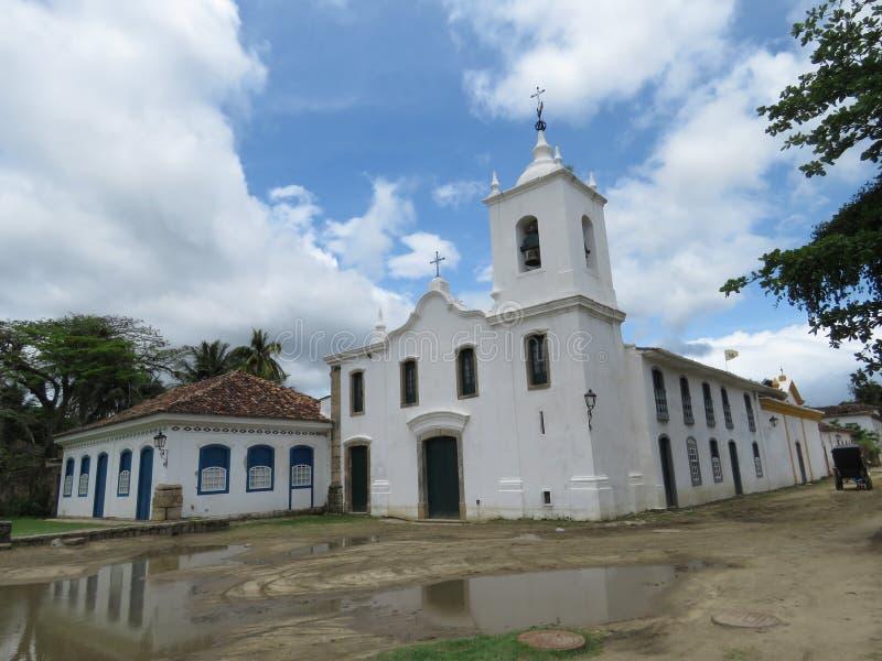 Chiesa della nostra signora dei dispiaceri - Paraty - Brasile fotografie stock