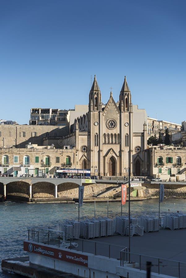 Chiesa della nostra signora del supporto Carmel Balluta Bay Sliema Malta fotografie stock libere da diritti