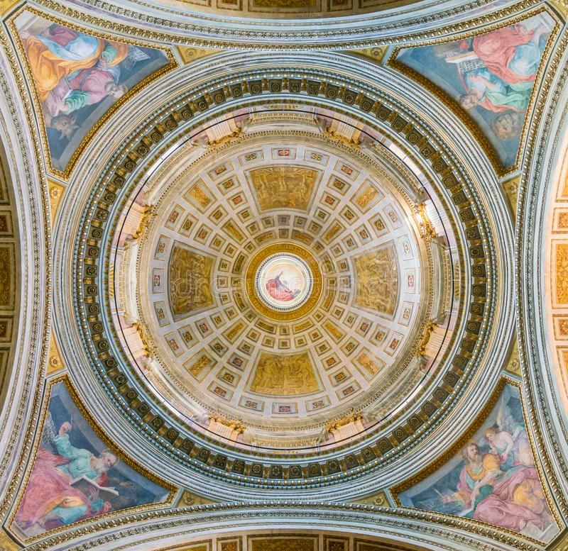The dome by Guido Reni, in the Church of Santissima Trinità dei Pellegrini, in Rome, Italy. The Chiesa della Santissima Trinità dei Pellegrini is a church royalty free stock photo