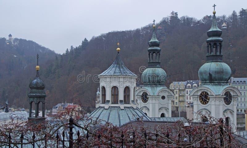Chiesa della st Mary Magdalene in città Karlovy Vary immagini stock libere da diritti