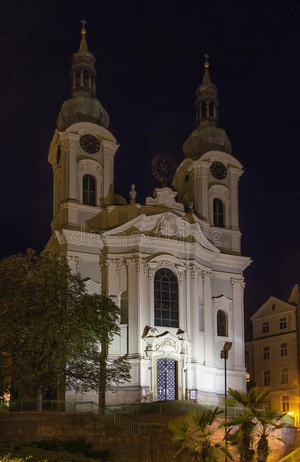 Chiesa della st Mary Magdalene, Karlovy Vary immagini stock