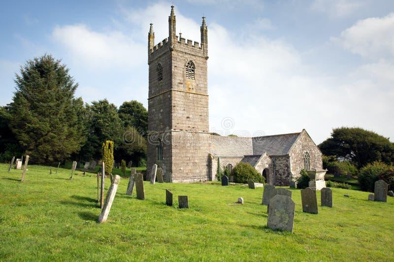 Chiesa della st Mawgan in Meneage Cornovaglia Inghilterra situata sulla penisola della lucertola a sud di Helston immagine stock