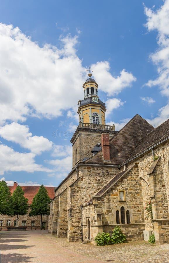 Chiesa della st Nicolai nel centro storico di Rinteln immagini stock libere da diritti