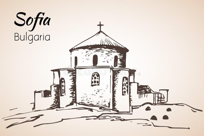 Chiesa di Boyana Panorama della città di Sofia, Bulgaria abbozzo illustrazione vettoriale