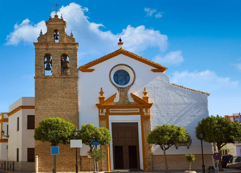Chiesa di Camas vicino a Sevilla via il modo del de La Plata fotografia stock