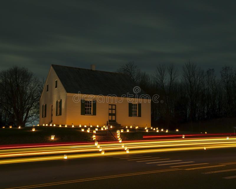 Chiesa di Dunker al campo di battaglia di Antietam in Sharpsburg, MD fotografie stock