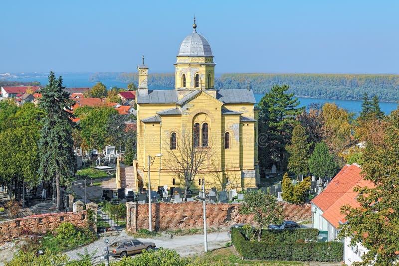 Chiesa di grande martire santo Dimitrije Solunski in Zemun, Serbia fotografie stock