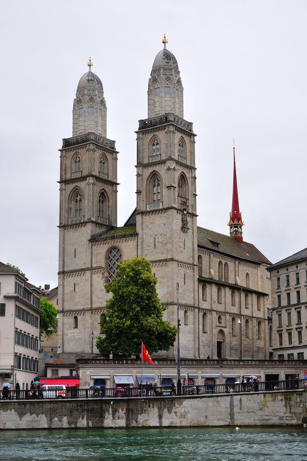 Chiesa di Grossmunster di Zurigo, Svizzera immagine stock libera da diritti