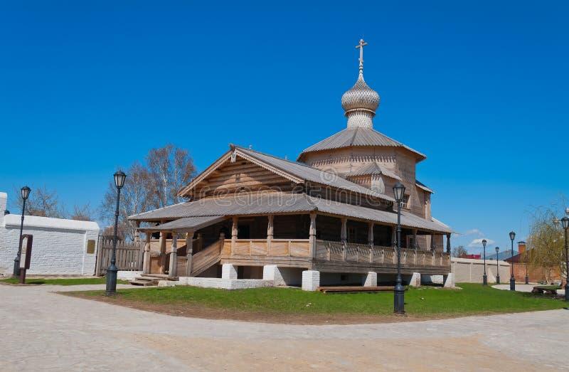 Chiesa di legno della trinità di John Baptist Monastery. Sviyazhsk i fotografie stock