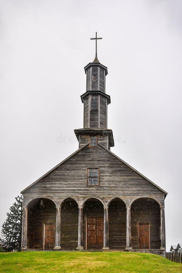Chiesa di legno, isola di Chiloe, Cile fotografia stock