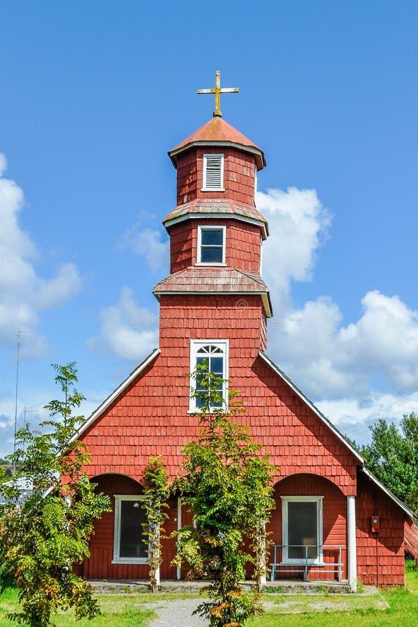 Chiesa di legno, isola di Chiloe, Cile fotografia stock libera da diritti