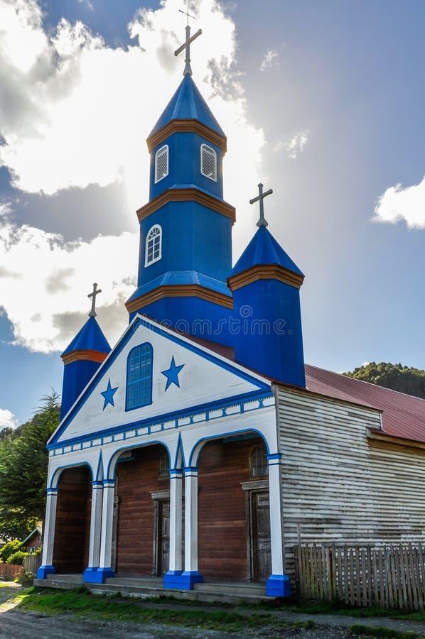 Chiesa di legno, isola di Chiloe, Cile immagine stock