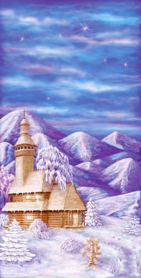 Chiesa di legno nelle montagne di inverno illustrazione di stock