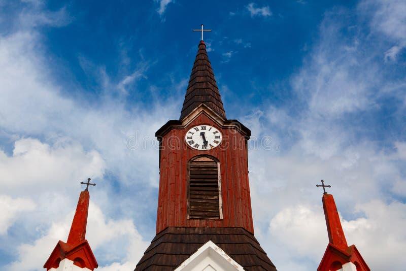 Chiesa di legno in piccoli villaggi, repubblica Ceca fotografia stock