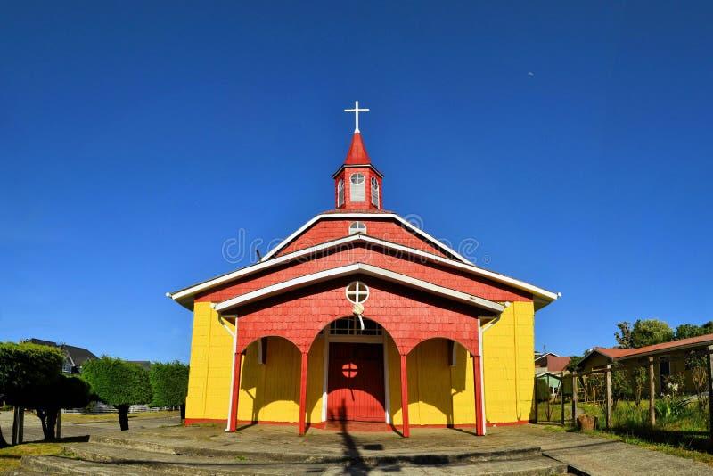 Chiesa di legno storica, costruita dalla gesuita, Chiloe immagini stock