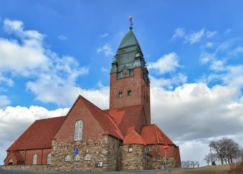 Chiesa di Masthugget su fondo delle nuvole immagini stock libere da diritti