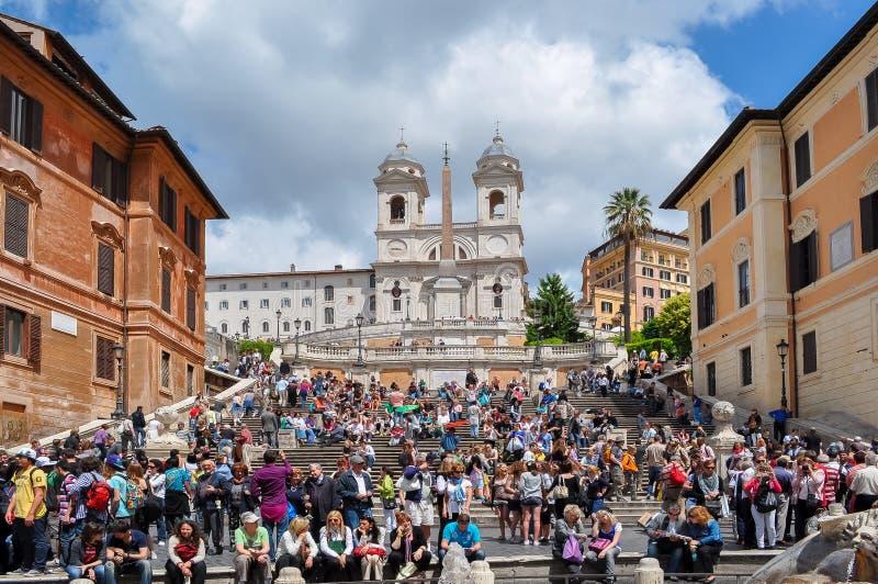 Chiesa di Monti punti e di dei spagnoli di Trinita, Roma, Italia fotografia stock