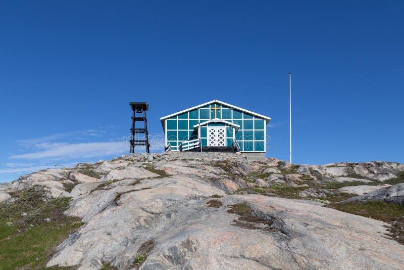 Chiesa di Naalakatta Illua in Ilulissat, Groenlandia fotografia stock libera da diritti