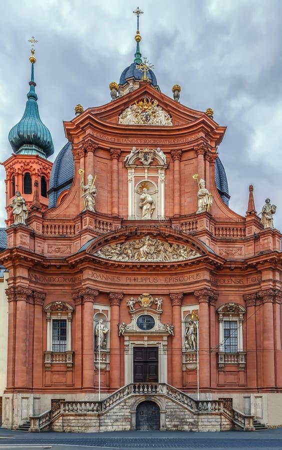 Chiesa di Neumunster, Wurzburg, Germania fotografia stock libera da diritti