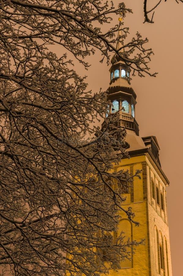 Chiesa di Niguliste attraverso i rami di albero isolati dalla neve di notte immagini stock