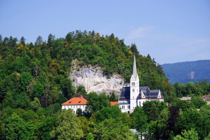 Chiesa di parrocchia di St Martin in sanguinato in, la Slovenia fotografia stock
