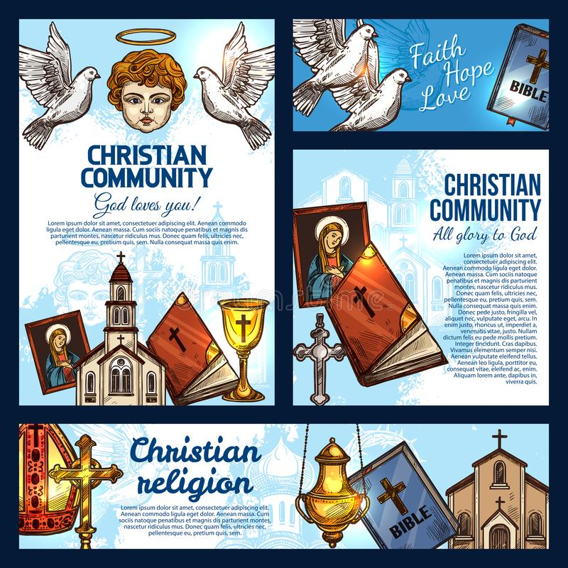 Chiesa di religione di Cristian, incrocio della croce e della bibbia royalty illustrazione gratis