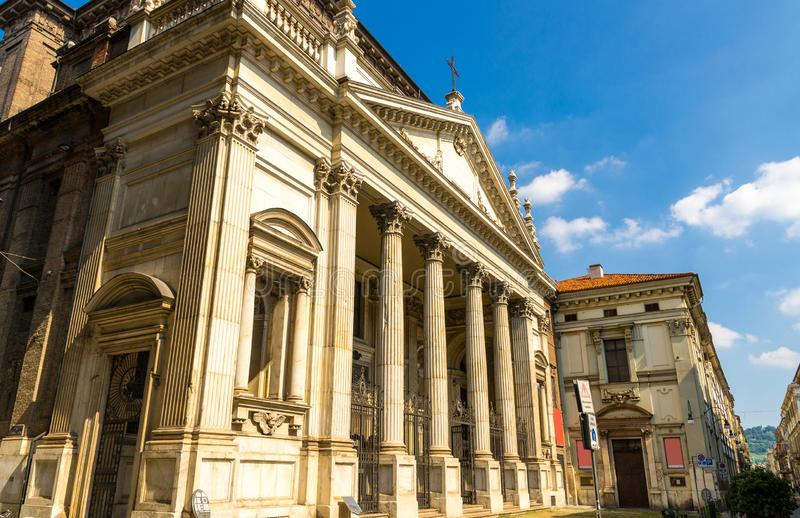 Chiesa di San Filippo Neri catholic church classicism style building. With columns in old historical city centre, Turin Torino, Piedmont, Italy royalty free stock photos