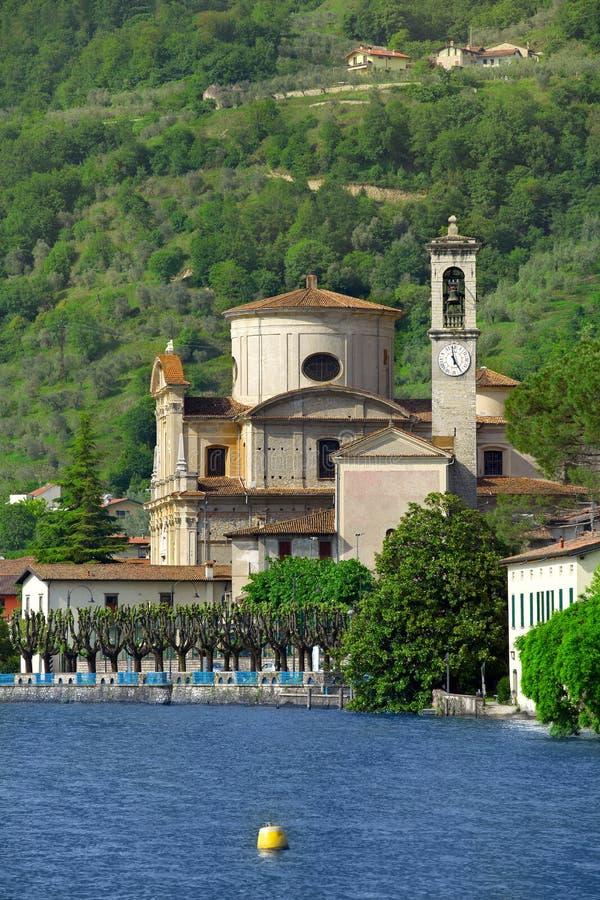 Chiesa di San Zenone, vendita Marasino sul lago Iseo fotografie stock libere da diritti