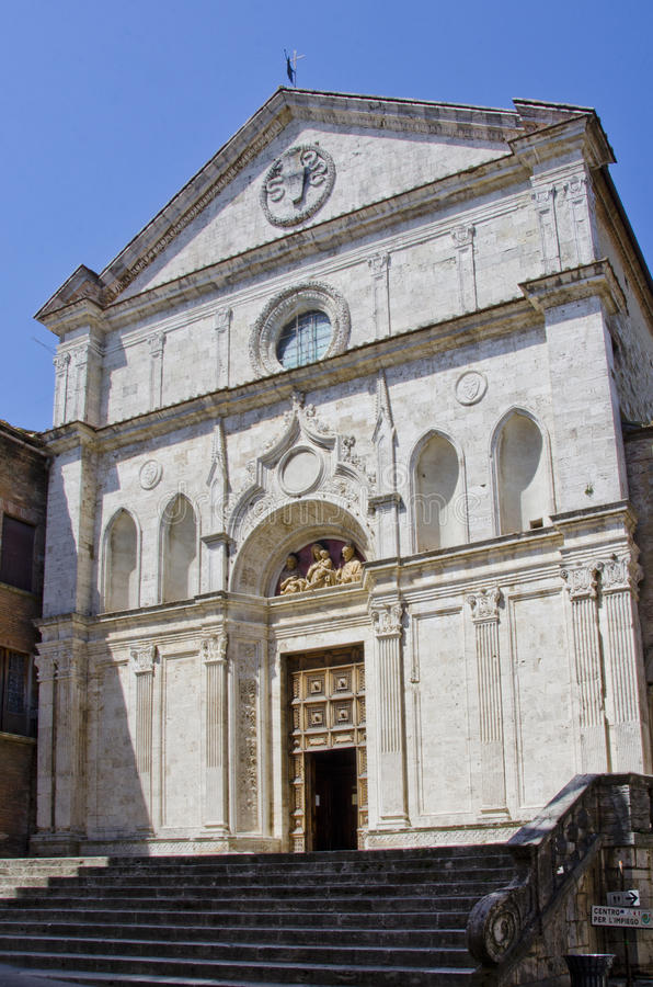 Chiesa di Sant Agostino in Montepulciano, Italy. Montepulciano, Italy is an Etruscan hill town founded sometime before 400 B.C. Today it is an agricultural stock photography