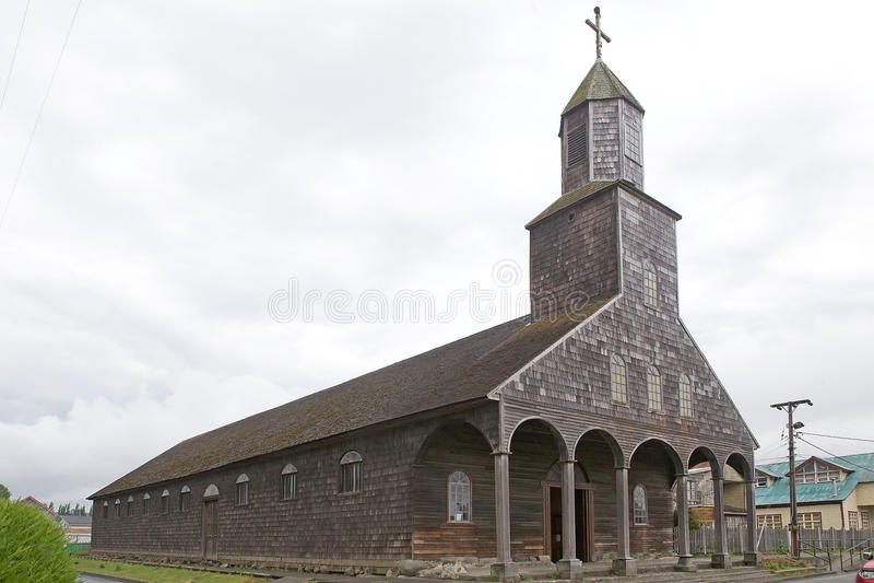 Chiesa di Santa Maria de Loreto a Achao, isola di Quinchao, Cile fotografia stock