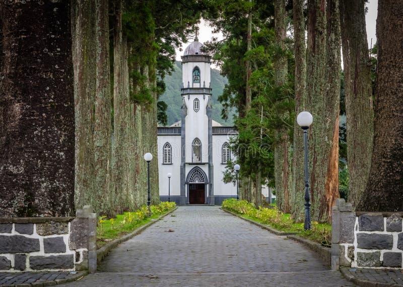 Chiesa di Sete Cidades fotografia stock libera da diritti