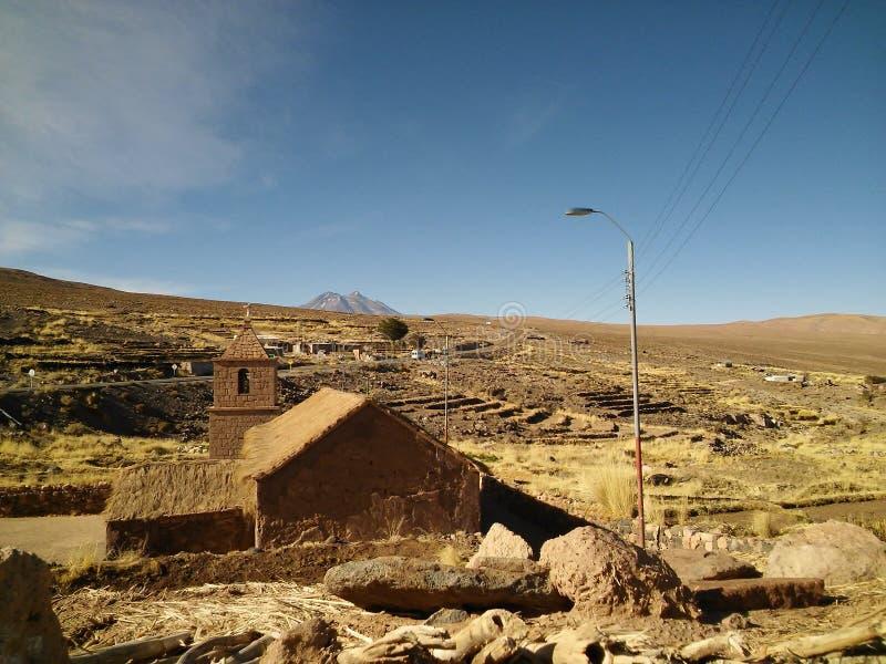 08 04 16 - Chiesa di Socaire, deserto di Atacama, Cile fotografia stock libera da diritti