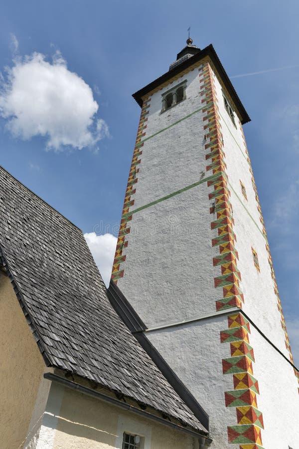 Chiesa di St John sul lago Bohinj in Slovenia fotografia stock