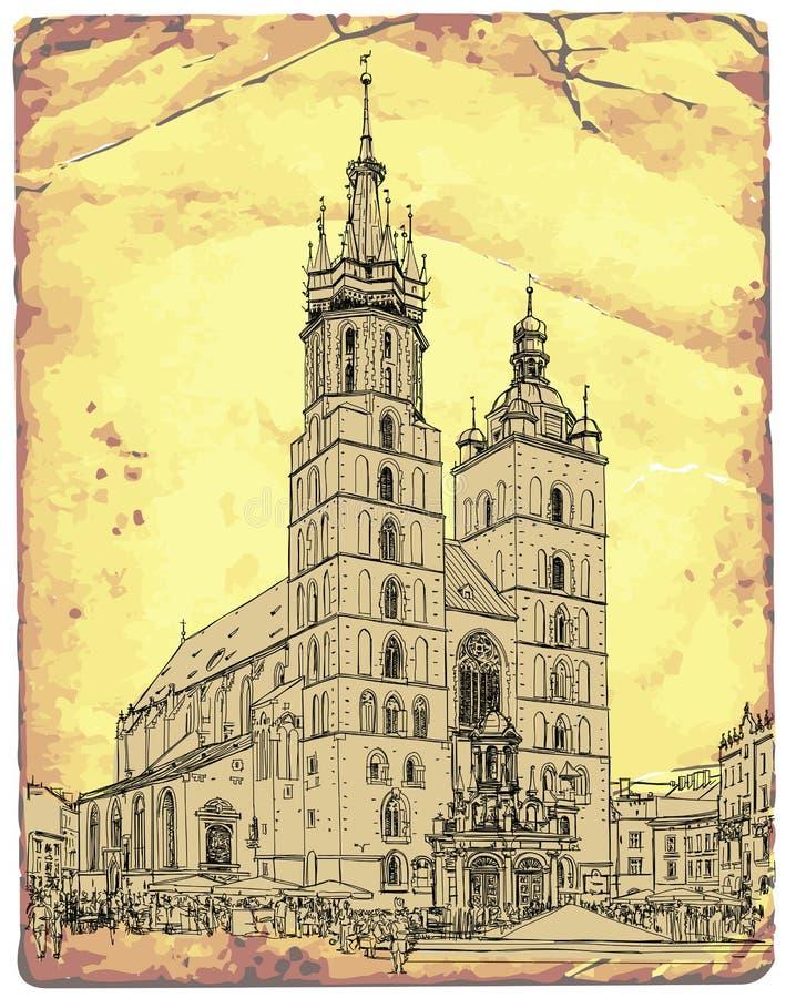 Chiesa di St Mary cracovia poland illustrazione vettoriale