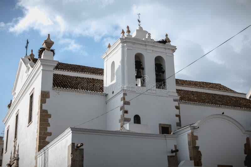 Chiesa di St Peter s del dettaglio di architettura a Faro, Portogallo fotografia stock