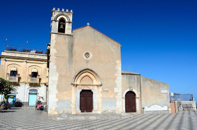 Chiesa di Taormina di St Augustine, Sicilia immagine stock