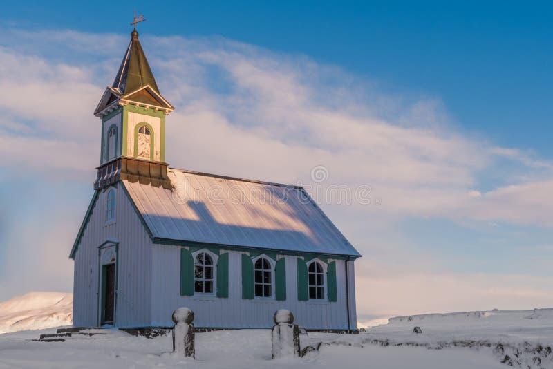Chiesa di Thingvellir, parco nazionale di Thingvellir, Islanda fotografie stock libere da diritti