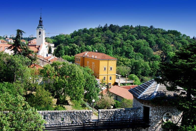 Chiesa di vergine Maria benedetto su Trsat a Rijeka, Croazia fotografia stock