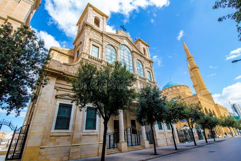 Chiesa e moschea a Beirut, Libano immagine stock libera da diritti